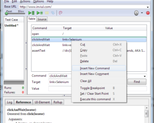 Insert new command & comment in Selenium IDE