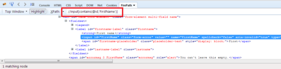 contains xpath in selenium webdriver