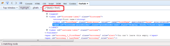 text xpath in selenium webdriver