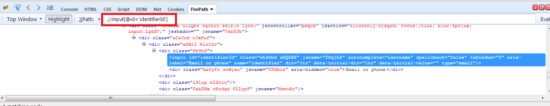 user name xpath in selenium webdriver