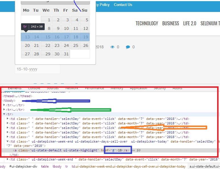 handling calendar in selenium webdriver