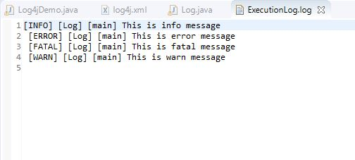 Execution log for log4j logging