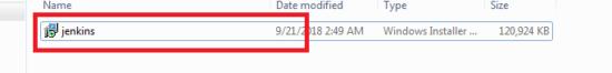 Jenkins Installer file