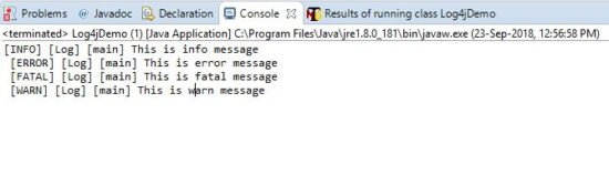 Log4j logging console output