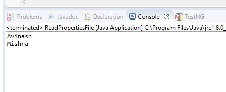 Properties file console