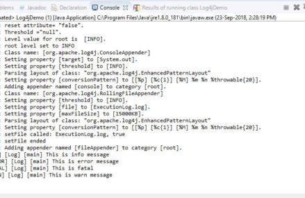 Configure log4j logging in Selenium Automation Framework