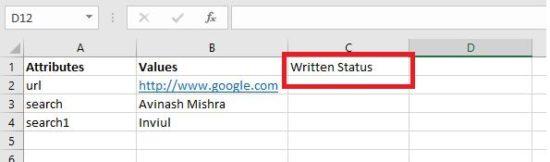 write data excel sheet