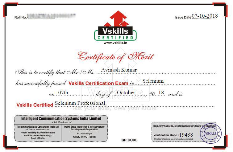 Avinash Mishra Vskills Selenium Professional Certifications