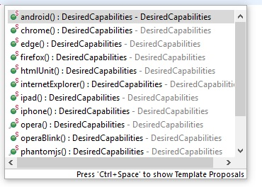 Desired capabilities browser